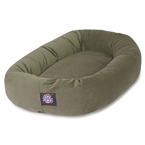 Dog Microsuede Beds Pet - 40 inch Sage Suede Bagel Dog Bed By Majestic Pet Products