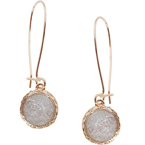 Humble Chic Simulated Druzy Threaders - Upside-Down Long Hoop Dangle Drop Earrings for Women, Simulated Quartz, Clear, White, Gold-Tone