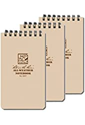 "3 Pack Rite in the Rain All Weather Tactical Pocket Notebooks 3"" x 5"" - Tan"