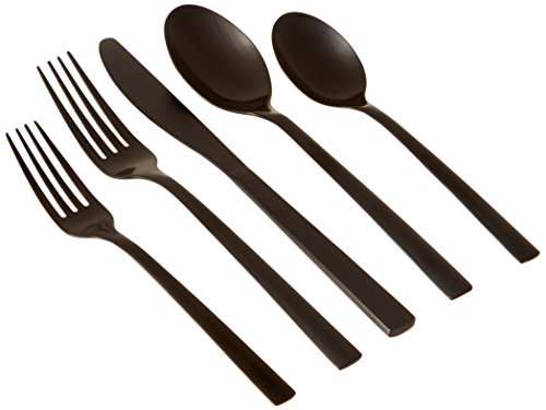Cambridge Silversmiths 20 Piece Cortney Stainless Steel Flatware Set (Service for 4), Black Matte -