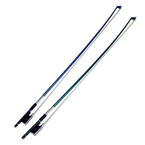 Kmise Archet pour violon en fibre de carbone Bleu et Vert superbe Archet 3/4pour violon Lot de 2