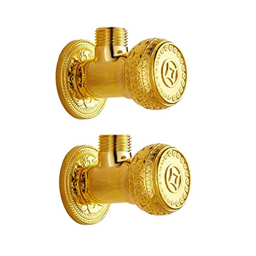 MCLYJ European Antique G1/2 Universal Angle Valve, All Copper Thick Hot and Cold Eight-Word Valve Stop Water Valve Toilet Water Heater (Color : 2 Packs)