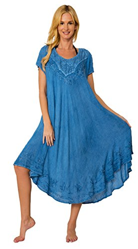 INGEAR Sleeveless Loose Tie Dye Bead Shift Beach Long Caftan Dress Cover up (Light Denim, One (Dress One Jeans)