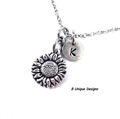 Necklace Metal Clasp Flowers (Sunflower Garden Flowers Necklace Gardener Personalized Initial Jewelry Silvertone, Stainless Steel or Sterling Silver Chain)