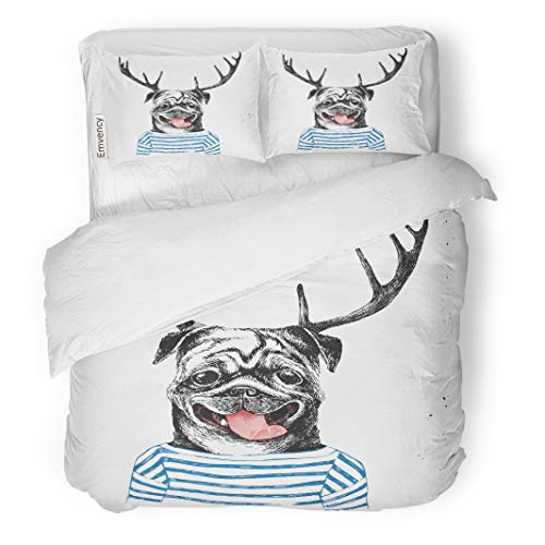 Semtomn Decor Duvet Cover Set Twin Size Animal Dressed Up Pug in Hipster Deer Horns Body 3 Piece Brushed Microfiber Fabric Print Bedding Set Cover