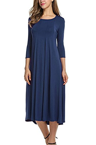 Haloon Plus Size 3/4 Sleeve Casual FlaNavy Swing A-Line Midi Dress For Women Navy (3/4 Sleeve Cotton Wrap)