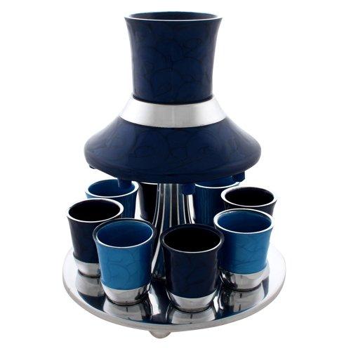 Modern Aluminum Kiddush Wine Fountain With 8 Cups, Blue