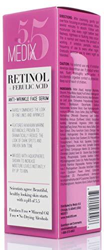41VptOUv2qL - Medix 5.5 Retinol Cream & Retinol Serum two-piece set. Anti-aging retinol set w/ferulic acid for wrinkles, fine lines, expression lines, dark spots. Contains 2oz serum & 15oz cream for face & body