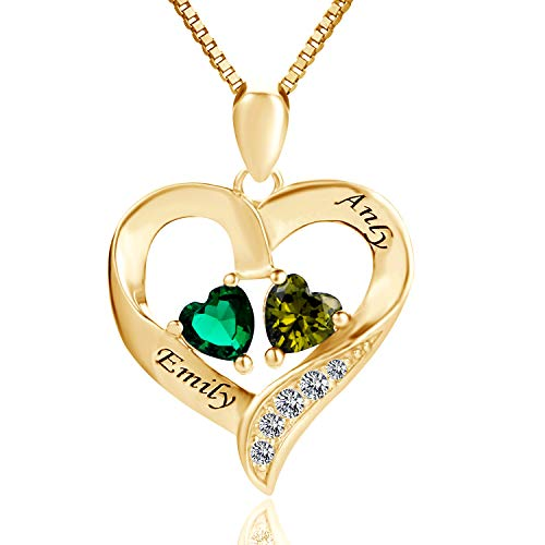 MissNity Women Engraved 2 Names Necklace Personalized Simulate Birthstones Sterling Silver 14K Gold Plating Custom Promise Heart Pendant Jewelry for Mother (Golden) ()