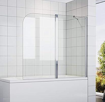 SONNI - Mampara de Bañera Plegable 140x120cm con Panel Doble de Pivote de 180° Vidrio Transparente: Amazon.es: Bricolaje y herramientas