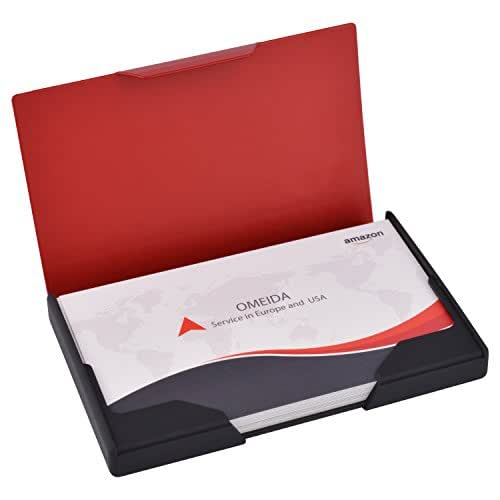 MaxGear Professional Business Card Holder, Men's Business Name Cards Organizer Titanium & Stainless Steel Business Card Case/Holder for Work Matte Red