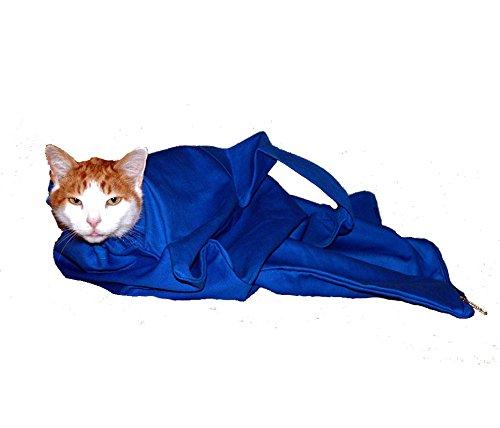 (Cat-in-the-bag Large Cobalt Blue Cozy Comfort Carrier- Cat Carrier and Grooming Bag for Vet Visits, Medication Administration, Dental Care, and Car Travel)