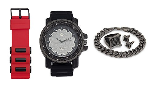 Techno Pave Techno Pave Iced Out Watch + Interchangeable Band + Cuban Bracelet + Iced Out Earrings & Ring [Gift Set] price tips cheap