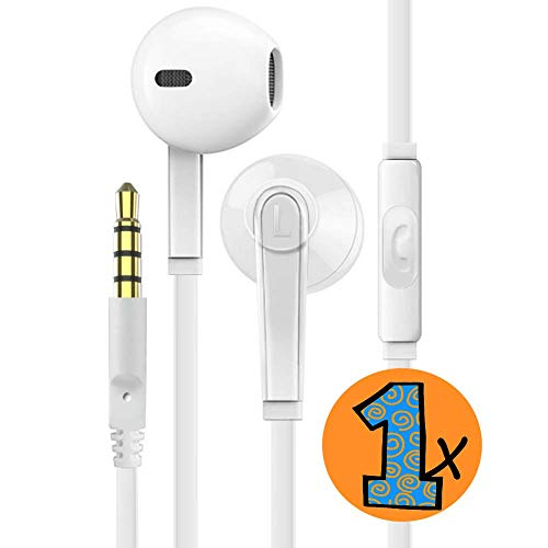 Schihcs Headphones with Microphone Certified PowerBoost in-Ear Headphone 3.5mm Noise Isolating Earphones Headset for iPhone iPad iPod Laptop Tablet Samsung Android LG HTC Smartphones (White) 1-Pack