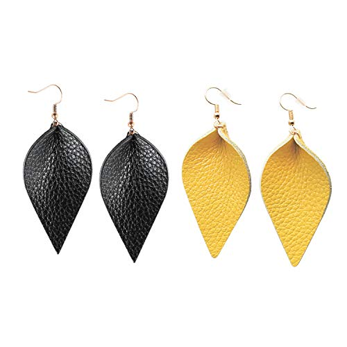 Me&Hz Fashion Fall Leaf Drop Earrings Black Yellow Genuine Leather Dangle Leaf Earrings Set for Women Girls