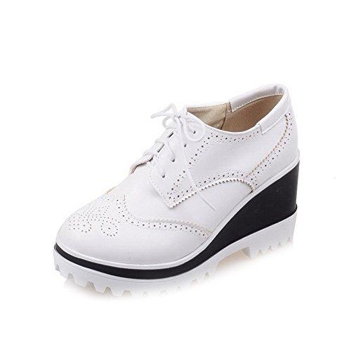 VogueZone009 Damen Rund Zehe Schnüren PU Leder Rein Hoher Absatz Pumps Schuhe Weiß