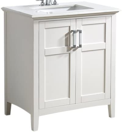 Simplihome Winston 30 Inch Contemporary Bath Vanity In Soft White With Bombay White Engineered Quartz Marble Extra Thick Top Bathroom Vanities Amazon Com