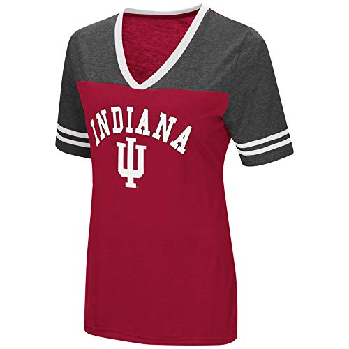 University Ncaa Indiana - Colosseum Women's NCAA Varsity Jersey V-Neck T-Shirt-Indiana Hoosiers-Crimson-Small