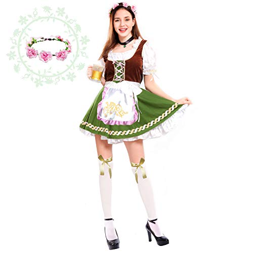 Spooktacular Creations Women's German Oktoberfest Costume Set with Rose Headband for Halloween Dress Up Party and Beer Festival (X-Large) -