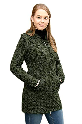 100% Irish Merino Wool Ladies Hooded Aran Zip Sweater Coat, Army Green, Extra Large