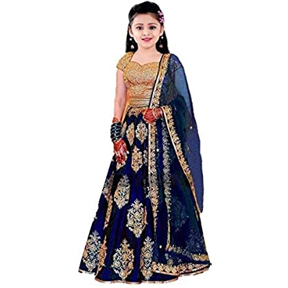 Leons Fab Girl's Satin Semi-Stitched Girl's Lehenga Choli for 10-15 Year Girls (Mix_FreeSize)