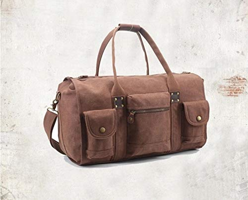 JWI Retro Large-Capacity Travel Bag Canvas Portable Mens Travel Bag Color : Army Green