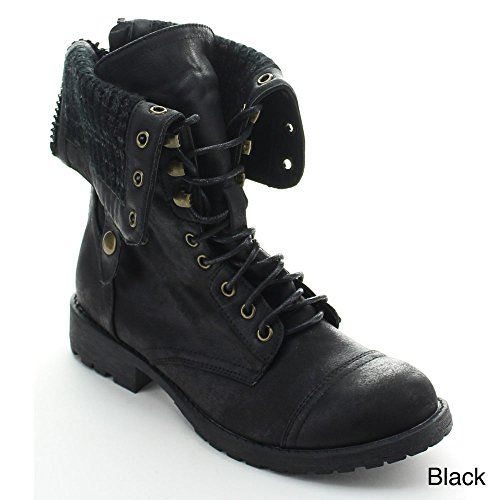 Nature Breeze Galaxy-01 Women's Mid-Calf Lace Up Rear Zipper Combat Boots