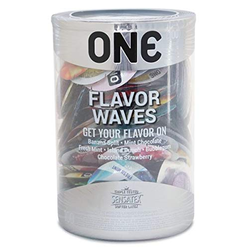 ONE Flavor Waves, Assortment of Flavored Lubricated Latex Condoms-100 Count Display Bowl