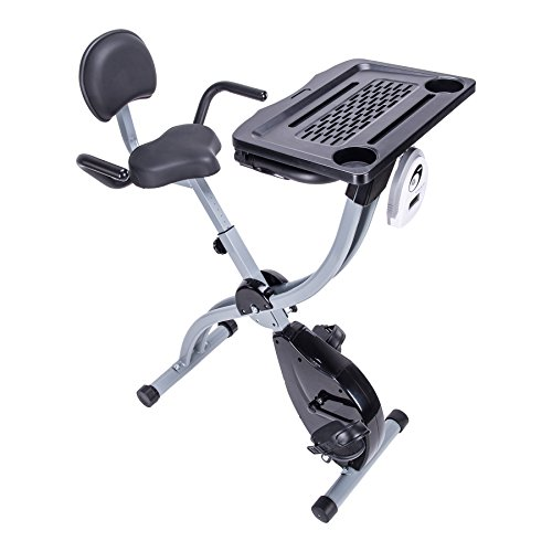 Pinty Adjustable Magnetic Exercise Bike Workstation Fit Cycle & Standing Desk with Upholstered Seat & Backrest & Padded Grips Resistance Pinty