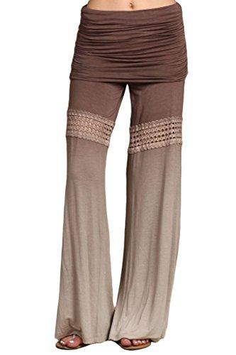 HeyHun Women's Ombre Dye Lace Bohemian Foldover Flared Wide Leg Palazzo Pants...