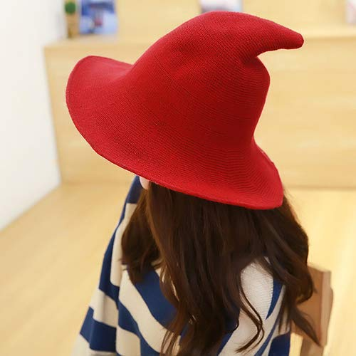 Black Kangkang Along The Sheep Wool Cap Knitting Fisherman Hat Female Fashion Witch Pointed Basin Bucket Hat Accessories
