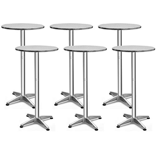 Giantex Bistro Bar Table Aluminium Round Folding Table W/Two Height Adjust Table (6) ()