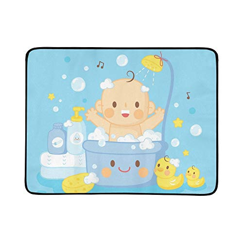 Rug 1952 (GIRLOS Cute Baby Bath Shower Portable and Foldable Blanket Mat 60x78 Inch Handy Mat for Camping Picnic Beach Indoor Outdoor Travel)