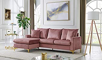 Iconic Home Queenstown Modular Chaise Sectional Sofa Velvet Upholstered Solid Gold Tone Metal Y-Legs with 2 Throw...