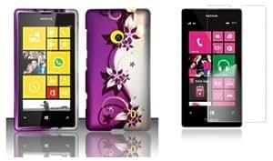 Quaroth - Nokia Lumia 521 / 520 - Accessory Combo Kit - Purple and Silver Vines Design Shield Case + Atom LED Keychain Light...