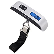 AMIR Digital Hanging Luggage Scale, 110lb/50kg Portable Travel Electronic Suitcase Scale, Backlight LCD Display, Rubber Paint Handle, Tare Function, Temperature Sensor, Silver