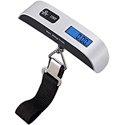 AMIR Digital Hanging Luggage Scale, 110lb/50kg Portable Travel Electronic Suitcase Scale, Backlight LCD Display, Rubber Paint Handle, Tare Function, Temperature Sensor, Silver, Battery Included