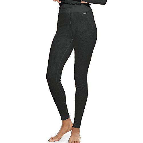 Duofold Women's Mid Weight Wicking Thermal Leggings, Black, Small