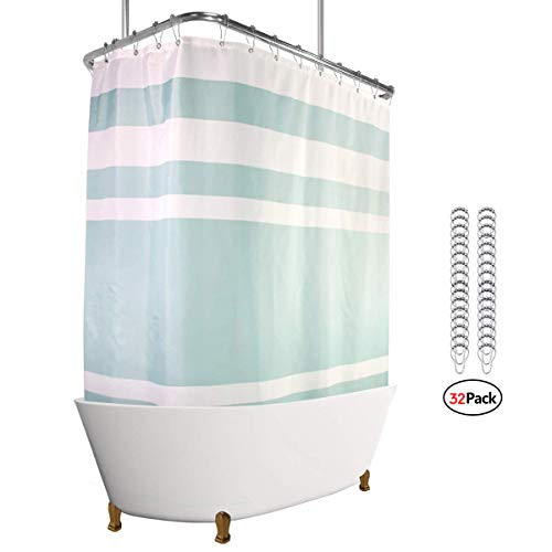 - Riyidecor Polyester Fabric Clawfoot Tub Shower Curtain 180x70 Inch White All Wrap Around Decor Panel Set Waterproof Green Striped with 32-Pack Metal Shower Hooks