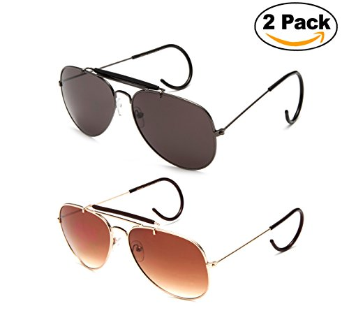 Timeless Classic Aviator Sunglasses with Brow Bar and Cable Wire Wrap Ears Temples For Secure Fit Men (Brow Bar)