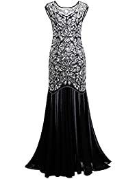 Women s 1920s Black Sequin Gatsby Maxi Long Evening Prom Dress