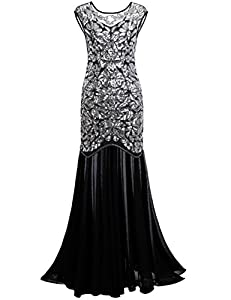 6746995efa Kayamiya Women s 1920s Beaded Sequin Floral Long Dress