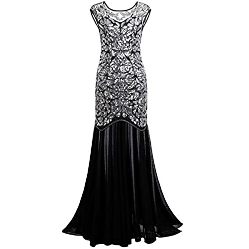 PrettyGuide Women s 1920s Black Sequin Gatsby Maxi Long Evening Prom Dress, Silver - 20/22 Plus