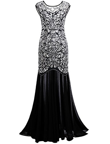 [PrettyGuide Women 's 1920s Black Sequin Gatsby Maxi Long Evening Prom Dress, Silver - 18/20 Plus] (Plus Size Formal Dresses)