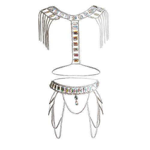 MineSign Crystal Body Chain Women Waist Vest Harness Shoulder Jewelry Kit for Party Bikini (Silver Tassel Set)
