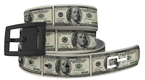 100 Bill Golf Belt with Black Buckle - Adjustable for Waist Size up to 44 Inch, Hypoallergenic - by C4 Belts (Bill Belt)