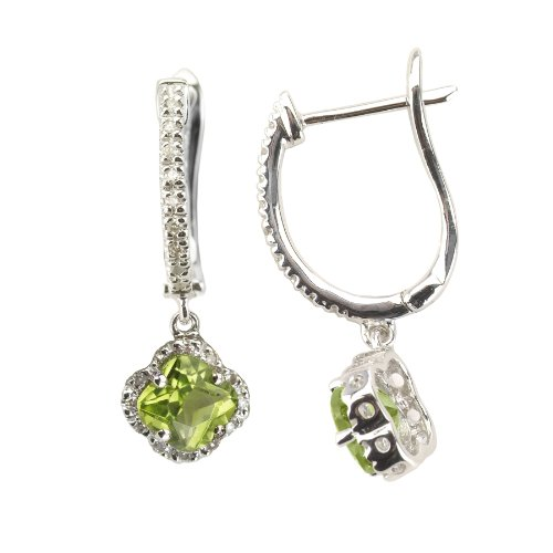 0.17 Ct Diamond (14k White Gold Four Leaf Drop Diamond Earring with Peridot Stone with .17 Ct Diamonds H-I SI2-I1)