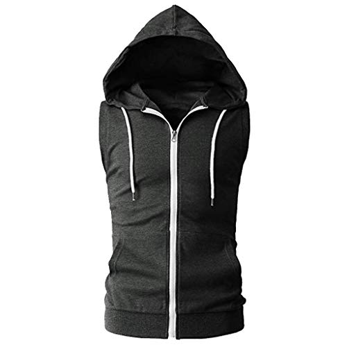 iHPH7 Vest Men Workout Hooded Tank Tops Bodybuilding Muscle Cut Off T Shirt Sleeveless Gym Hoodies Fashion Casual Pure Color Zip Hooded Sleeveless Vest Top Blouse XXL Dark Gray