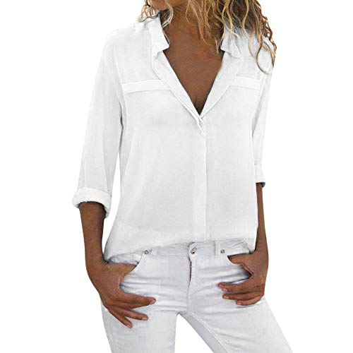 Chaofanjiancai Womens Casual Long Sleeve Solid Blouse Loose Tops Ladies V Neck Office Work Shirt