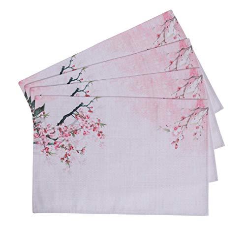 Blossom Plum Designs - PuTianHome-Set of 4 Heat Insulation Placemats for Dining Table-Easy Dry, Decorative,Sense of Design-Plum Blossom